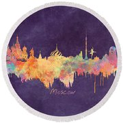 Moscow Russia Skyline City Round Beach Towel by Justyna JBJart