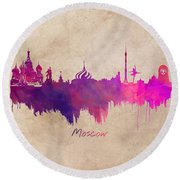 Moscow Russia Skyline Purple Round Beach Towel by Justyna JBJart