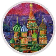 Moscow Saint Basil's Cathedral Round Beach Towel