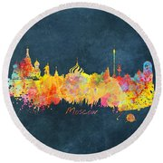 Moscow Skyline  Round Beach Towel by Justyna JBJart