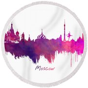 Moscow Skyline Purple Round Beach Towel by Justyna JBJart