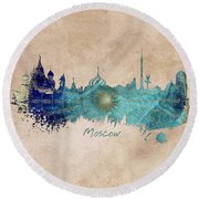 Moscow Skyline Wind Rose Round Beach Towel by Justyna JBJart