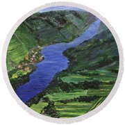Round Beach Towel featuring the painting Moselle River by Jamie Frier