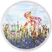 Moses In The Rushes Round Beach Towel