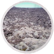 Moss-covered Lava Flow, Iceland Round Beach Towel