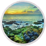 Round Beach Towel featuring the photograph Moss Covered Rocks At Sunset In Molokai by Tara Turner