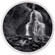 Moss Glen Falls - Monochrome Round Beach Towel by Stephen Stookey