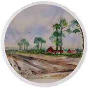Round Beach Towel featuring the painting Moss Landing Pine Trees Farm California Landscape 2 by Xueling Zou