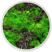 Round Beach Towel featuring the photograph Moss On The Hillside by Mike Eingle