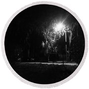 Moss Park Black And White  Round Beach Towel