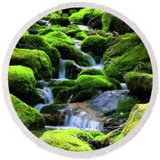 Moss Rocks And River Round Beach Towel