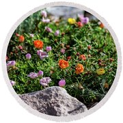 Moss Rose In The Rocks #1 Round Beach Towel
