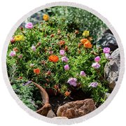 Moss Rose In The Rocks #2 Round Beach Towel