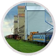 Round Beach Towel featuring the photograph Mossleigh Elevators by Ann E Robson
