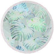 Mossy Faded Monstera Round Beach Towel