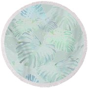 Mossy Faded Monstera Light Round Beach Towel