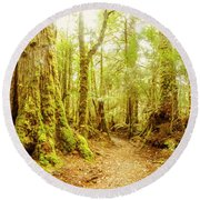 Mossy Forest Trails Round Beach Towel