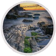 Mossy Rocks At Bald Head Cliff  Round Beach Towel