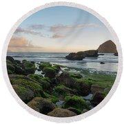 Mossy Rocks At The Beach Round Beach Towel