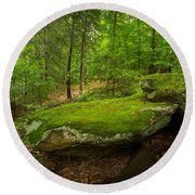 Round Beach Towel featuring the photograph Mossy Rocks In Little Creek Park by Shane Holsclaw