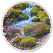 Mossy Stepping Stones Round Beach Towel by Angelo Marcialis