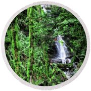 Mossy Trees And Waterfalls  Round Beach Towel