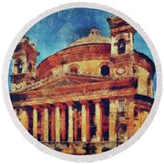 Mosta Church Round Beach Towel