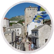Mostar, Bosnia And Herzegovina.  The Old Town Seen From The Old Bridge. Round Beach Towel