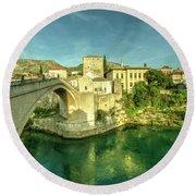 Mostar Bridge  Round Beach Towel