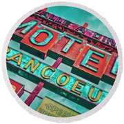 Motel Bar Round Beach Towel by Jerry Golab