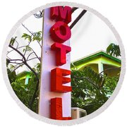 Round Beach Towel featuring the photograph Motel by Beth Saffer