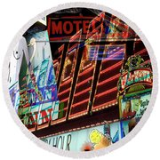 Motel Variations 24 Hours Round Beach Towel by Ann Tracy