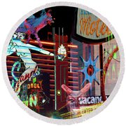 Motel Variations Night Of The Flyng Coyote Round Beach Towel by Ann Tracy