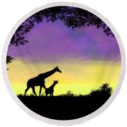 Mother And Baby Giraffe At Sunset Round Beach Towel