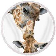 Mother And Baby Giraffe Round Beach Towel