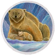 Mother And Baby Polar Bears Round Beach Towel