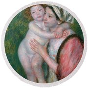Mother And Child, 1914 Round Beach Towel