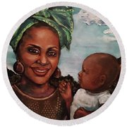 Mother And Child 2017 Round Beach Towel