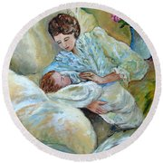 Mother And Child By May Villeneuve Round Beach Towel by Susan Lafleur for May Villeneuve