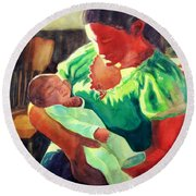 Round Beach Towel featuring the painting Mother And Child In Red2 by Kathy Braud