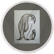 Mother And Child Penguins Round Beach Towel