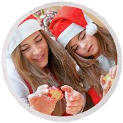 Mother And Daughter Doing Christmas Sweets Round Beach Towel