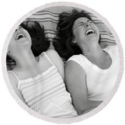 Mother And Daughter Laughing Round Beach Towel