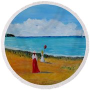 Round Beach Towel featuring the painting Mother And Daughter by Marilyn  McNish