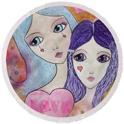 Mother And Daughter Round Beach Towel