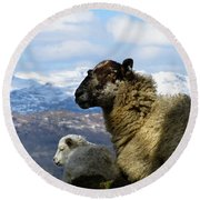 Mother And Lamb Round Beach Towel