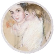 Mother And Nude Child Round Beach Towel