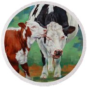 Round Beach Towel featuring the painting Mother And Son by Margaret Stockdale