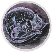 Round Beach Towel featuring the painting Mother Cat With Kittens by Zaira Dzhaubaeva