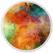 Mother Earth - Abstract Art Round Beach Towel